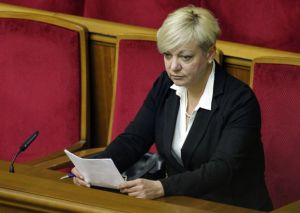 Newly appointed head of the central bank Valeria Hontareva attends a session of parliament in Kiev